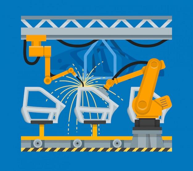 Illustrazione saldatura a punti delle porte delle automobili con robot industriali