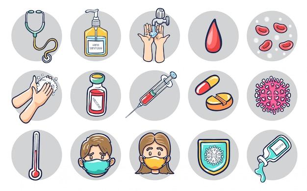 Illustrazione sana dell'icona della medicina e del coronavirus