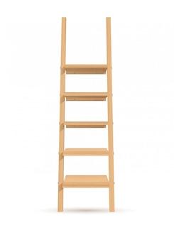 Illustrazione scaffali-scala in legno
