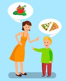 Illustrazione scelta cibo sano e malsano