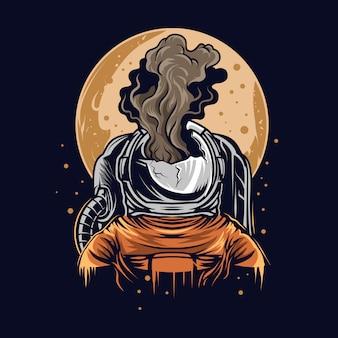 Illustrazione schiacciante dell'astronauta sullo spazio