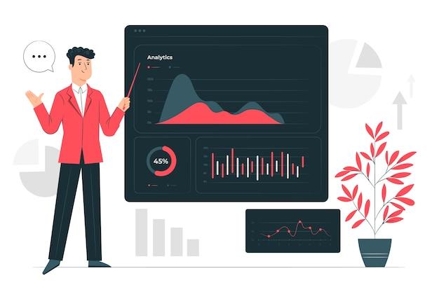 Illustrazione scura di concetto di analisi dei dati