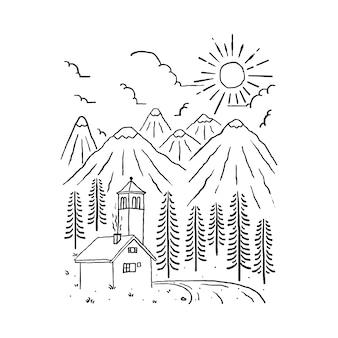 Illustrazione selvaggia della montagna della natura domestica