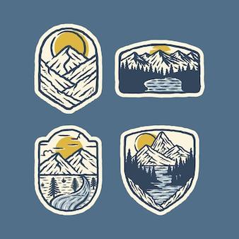 Illustrazione selvaggia di campeggio del grafico del perno della toppa del distintivo della natura della montagna