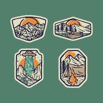 Illustrazione selvaggia di campeggio del grafico del perno della toppa del distintivo della natura straniera della montagna