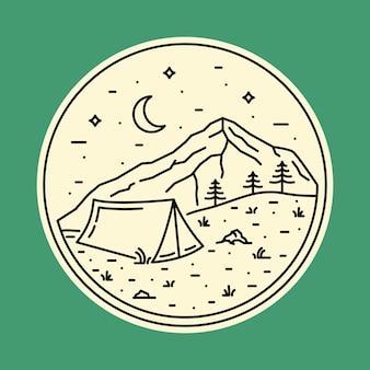 Illustrazione selvaggia di campeggio del grafico del perno di toppa del distintivo della natura