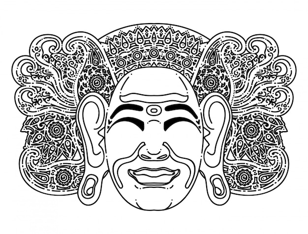 Illustrazione semplice della maschera tradizionale balinese