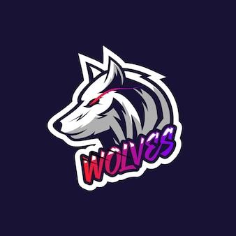 Illustrazione semplice di logo della testa dei lupi per la squadra di gioco