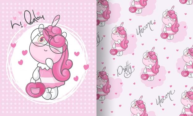 Illustrazione senza cuciture adorabile del modello dell'unicorno di bellezza per i bambini