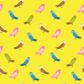 Illustrazione senza cuciture del fondo del modello dell'uccello astratto