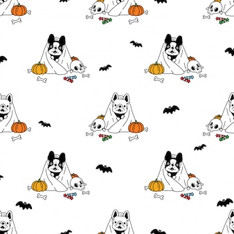 Illustrazione senza cuciture del fumetto della zucca di halloween del bulldog francese del modello senza cuciture del cane