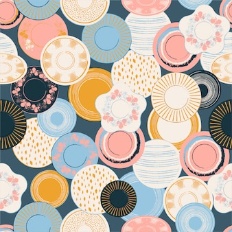 Illustrazione senza cuciture del modello dei piatti di porcellana disegnati a mano grafici della spazzola patel variopinta.