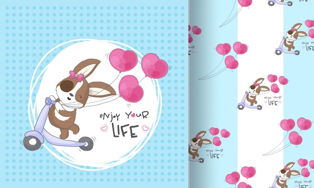 Illustrazione senza cuciture del modello di felicità sveglia del cucciolo per i bambini