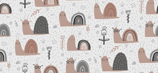 Illustrazione senza cuciture del modello di vettore disegnato a mano del bambino con le lumache sveglie. design piatto in stile scandinavo. il concetto di carta da parati, design di stoffa, tessuto, avvolgimento, carta da parati.