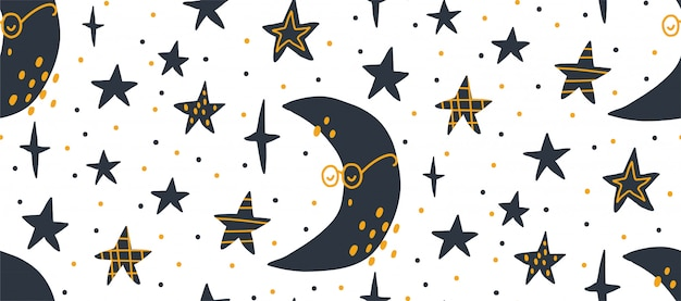 Illustrazione senza cuciture del modello di vettore disegnato a mano di un cielo stellato notturno