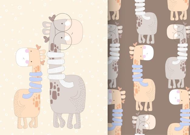 Illustrazione senza cuciture del modello sveglio della giraffa per i bambini