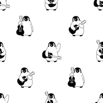 Illustrazione senza cuciture dell'uccello del fumetto di musica della chitarra del modello del pinguino