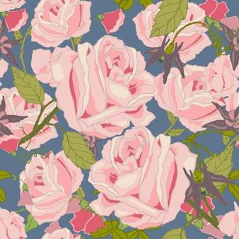 Illustrazione senza cuciture di vettore del modello dei fiori e dei fiori del mazzo del giardino di estate della rosa dell'annata