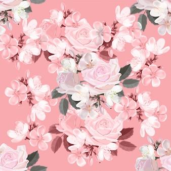 Illustrazione senza cuciture di vettore del modello del fiore rosa