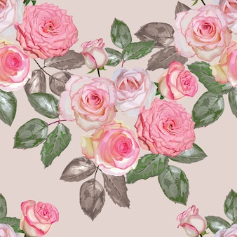 Illustrazione senza cuciture di vettore del modello del mazzo rosa delle rose