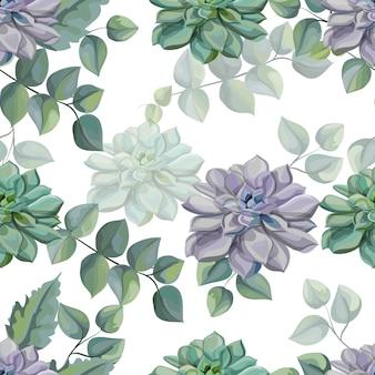 Illustrazione senza cuciture di vettore del modello delle foglie tropicali e dei succulenti