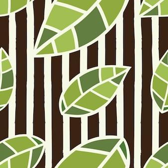 Illustrazione senza cuciture di vettore del modello delle foglie verdi