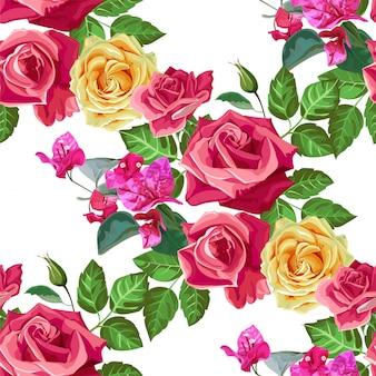 Illustrazione senza cuciture di vettore del modello di rosa