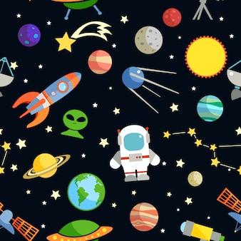 Illustrazione senza cuciture di vettore del modello di simboli decorativi di astronomia e dello spazio