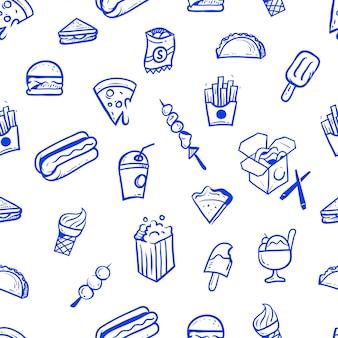 Illustrazione senza cuciture disegnata a mano del modello del cibo della via