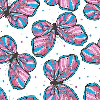 Illustrazione senza cuciture disegnata a mano del modello della farfalla di bellezza