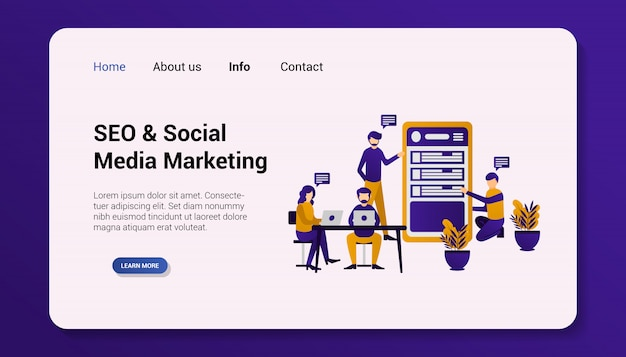 Illustrazione, seo social media marketing landing page design piatto.