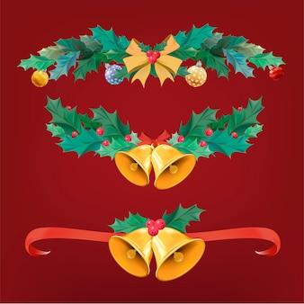 Illustrazione set di articoli di decorazione natalizia