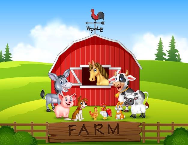 Illustrazione sfondo di fattoria con animali