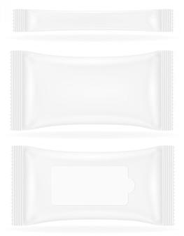 Illustrazione sigillata bianca di vettore dell'imballaggio della borsa sigillata in bianco