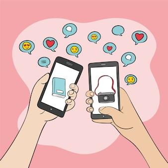 Illustrazione sociale del telefono cellulare di vendita di media