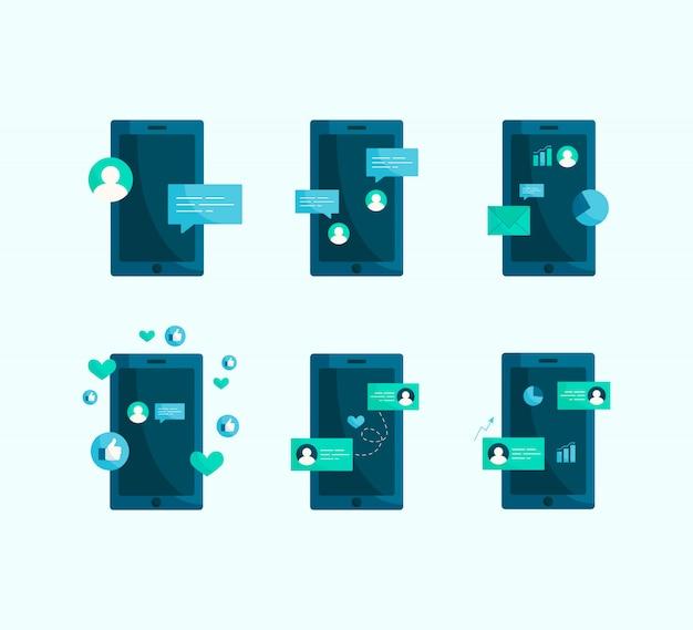 Illustrazione sociale del telefono cellulare moderno