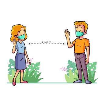 Illustrazione sociale distana