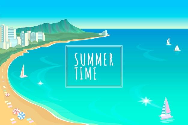 Illustrazione soleggiata di vacanza di viaggio di estate del cielo dell'acqua blu della baia dell'oceano delle hawai