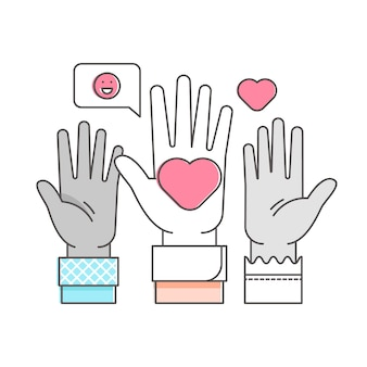 Illustrazione sollevata volontaria di concetto del profilo delle mani