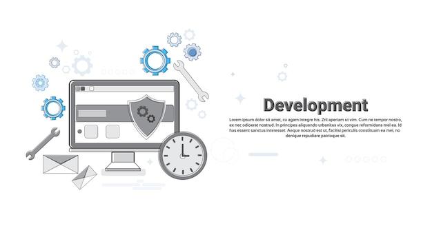 Illustrazione sottile di vettore di concetto di affari di sviluppo di applicazione di tecnologie informatiche