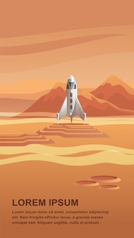 Illustrazione space shuttle arriving on red planet