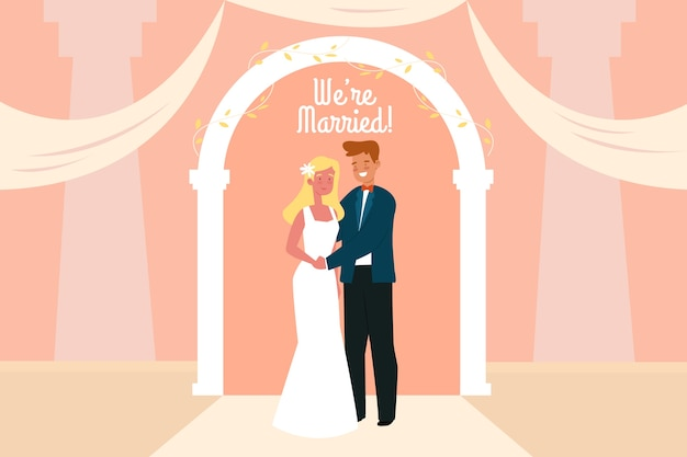 Illustrazione sposata gettig dello sposo e della sposa