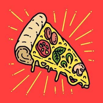 Illustrazione squisita del tatuaggio della vecchia scuola della pizza