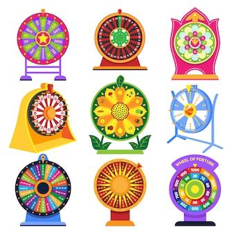 Illustrazione stabilita del casinò di lotteria a ruote fortunata fortunata delle roulette delle icone del gioco di rotazione della ruota della fortuna su fondo bianco