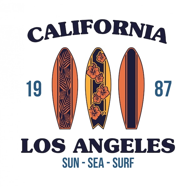 Illustrazione stabilita del fumetto della vecchia scuola del surf della california.