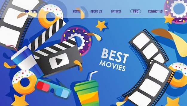 Illustrazione stabilita del sito web di film di bestia, cinema. striscia di pellicola della pagina di destinazione, occhiali per la visione e batacchio di film.