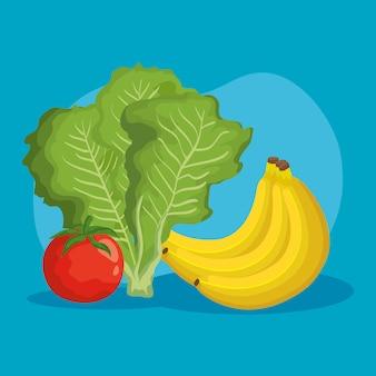 Illustrazione stabilita dell'icona delle verdure e delle frutta, natura dolce sana dell'alimento biologico succosa e nutrizione