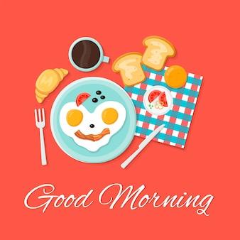 Illustrazione stabilita dell'icona piana isolata prima colazione. buongiorno. le uova sorridono, toast, cornetto, caffè