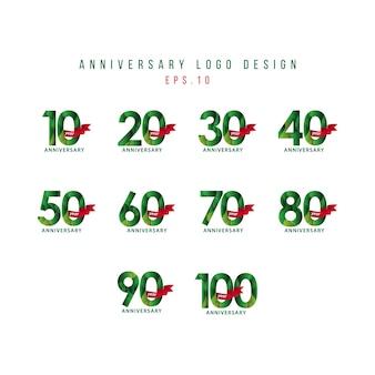 Illustrazione stabilita di progettazione del modello di vettore di anniversario di anno