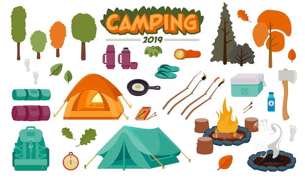 Illustrazione stabilita di vettore degli elementi di campeggio